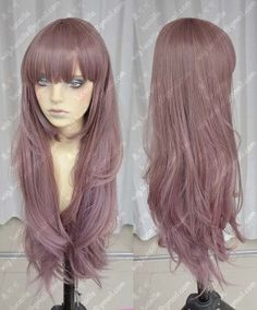 Ayamo Fashion Pink Almond 80cm Wavy Party Cosplay Wig