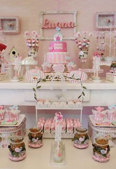 Shabby chic baptism party table! See more party ideas at CatchMyParty.com!