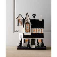 Black & White Halloween House at Horchow (Glitter house! Halloween Town, Holidays Halloween, Vintage Halloween, Halloween Crafts, Halloween Decorations, Diy Halloween Village, Halloween Halloween, Christmas Village Houses, Putz Houses