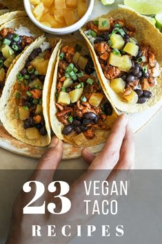 These vegan taco recipes make for the ideal comfort food for meat-free lovers. Perfect for lunches and dinners, they use beautiful spices, mixed with cauliflower, broccoli or mushrooms for fillings, all wrapped in crunchy taco shells. Vegetarian Tacos, Best Vegetarian Recipes, Mexican Food Recipes, Healthy Recipes, Chickpea Tacos, Stuffed Shells Recipe, Breakfast Tacos, Comfort Food, Sausage Recipes