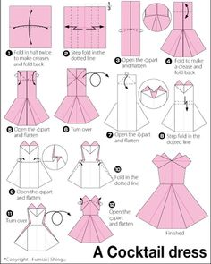 Origami instructions, how to make a paper cocktail dress. Origami instructions, how to make a paper cocktail dress. Origami Design, Instruções Origami, Origami Dress, Origami Ball, Money Origami, Origami Folding, Paper Folding, Oragami, Origami Cards