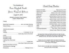 Amazing template for wedding programs! Microsoft Word - Text for ...