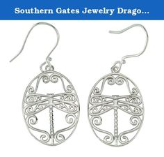 Southern Gates Jewelry Dragonfly Earrings 6807. The earrings are from the Southern Gates Jewelry Collection inspired from Ornamental ironwork created during the 18th and 19th centuries. The designs reflect the influence of blacksmiths who forged art into gates, grilles and balconies. The collection is a tribute to the skills of artisans in the past who wrought beauty from the iron in their forges.