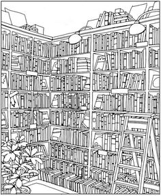 Color in this bookstore by author Steve McDonald over a cuppa coffee. (If you post to social media, Chronicle Books will donate a book to a child in need. Adult Coloring Book Pages, Colouring Pages, Printable Coloring Pages, Free Coloring, Coloring Sheets, Coloring Books, Children In Need, Kids, Colorful Drawings