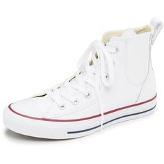 Converse Chuck Taylor All Star Chelsea Sneakers ($53) ❤ liked on Polyvore featuring shoes, sneakers, flats, lace up flats, lace up sneakers, hi tops, leather flat shoes and leather sneakers