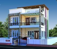 Modern home design ideas Archives - Page 454 of 584 - Popular Home Decor House Outer Design, Duplex House Design, House Front Design, Modern House Design, Porch House Plans, Basement House Plans, Dream House Plans, Modern House Plans, Independent House