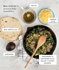 Meal Plan Day 3: Quinoa and Kale Quesadillas