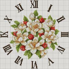 Interesting idea for home décor is a cross-stitch clock. This free cross stitch pattern very beautiful Cross Stitch Pictures, Cross Stitch Love, Cross Stitch Borders, Cross Stitch Flowers, Cross Stitch Charts, Cross Stitch Designs, Cross Stitching, Cross Stitch Embroidery, Cross Stitch Patterns