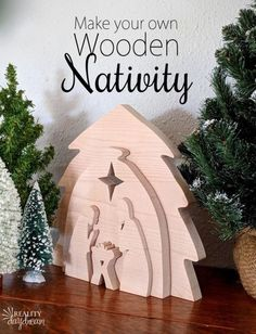 Learn how to make this DIY Wooden Nativity as a puzzle or holiday decor using your scroll saw! {Reality Daydream} Come on over and learn how to make thisEASY Wooden Nativity Set as a puzzle with our free printable scroll saw pattern! Christmas Wood Crafts, Christmas Nativity, Christmas Projects, Holiday Crafts, Christmas Crafts, Christmas Ornaments, Christmas Signs, Christmas Tree, Wooden Christmas Decorations