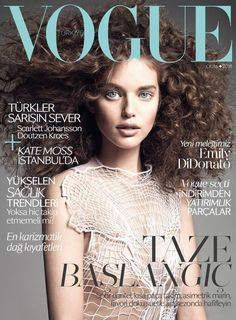 Landing her first Vogue cover, Emily DiDonato covers the January 2014 edition of Vogue Turkey wearing a resort top from Christopher Kane.