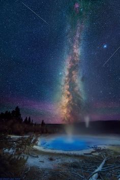Milky way over Solitary Geyser in Yellowstone Park