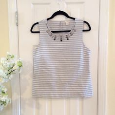 """J Crew Striped Sleeveless Top Studded with distressed metal studs. Cotton, nylon and elastane. Some stretch. Has side slits. Length 23"""". Bust 18"""". J. Crew Tops Tank Tops"""