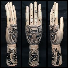 Large wooden hand mannequin with original drawings of sphynx / rose / all seeing eye 'tattoo style' door Inkspirednl op Etsy https://www.etsy.com/nl/listing/262464043/large-wooden-hand-mannequin-with