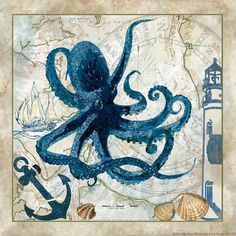 "Buy Art For Less 'Octopus' Graphic Art on Wrapped Canvas Size: 12"" H x 12"" W x 1.5"" D"