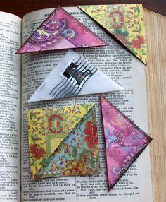 pretty sewn paper corner book marks