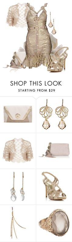 """""""Inside the Gilded Cage"""" by rockreborn ❤ liked on Polyvore featuring Elliott Lucca, Alvina Abramova, Jacques Vert, Lanvin, Hervé Léger, Amy DiGregorio, Roland Cartier, Anaconda and taupe dress and lace shrug"""