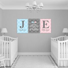 Personalized twins nursery decor with initials | twin boy and girl baby gift | chevron polka dots | gray pink blue nursery art Looking for the perfect gift or nursery decor for that boy and girl twins? Get this custom Sometimes miracles come in pairs wall art with monograms with either museum quality unframed prints or canvas wraps. This professionally printed art will not disappoint and will be cherished for years and years to come. <-----------HOW TO ORDER-------------> PLEASE choo...