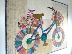 """Whimsical Bicycle"" Art Quilt with Dresden Plate Tires - quilt designed and made by Sally Manke, via Quilting Digest Dresden Quilt, Patchwork Quilting, Applique Quilts, Jaybird Quilts, Crazy Quilting, Small Quilts, Mini Quilts, Quilting Projects, Quilting Designs"