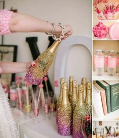Champagne bottles dipped in glitter