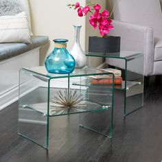 Best Selling Home Jessica Glass End Tables - Set of 2 | from hayneedle.com