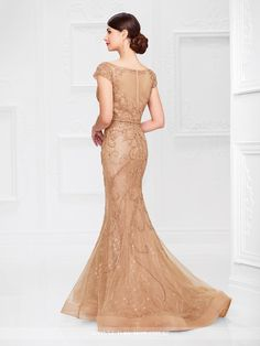 Ivonne D Exclusively For Mon Cheri 117D66 - Hand-beaded tulle mermaid gown with illusion cap sleeves and bateau neckline, sweetheart bodice with beaded natural waist, illusion back, horsehair hemline.