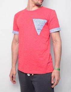 Byg Bang t-shirt con taschino frontale e manica risvoltabile con tessuto camicia coral-flowers