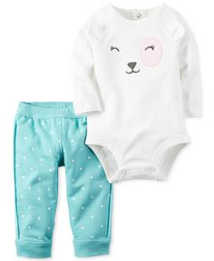 Carter's Baby Girls' Bodysuit Pant Sets Mint Polka Puppy, 3 Months: BSPS girl white bear face with dot pant Carters Baby Girl, Baby Boy, Baby Girls, Newborn Outfits, Girl Outfits, Casual Outfits, Polka Dot Pants, Polka Dots, Cute Baby Clothes