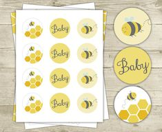 Bee Baby Shower  Cupcake Toppers  2 inch Round by CelebrateBabyCo