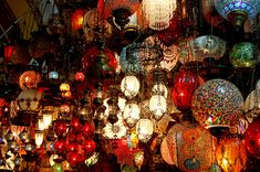 "Turkish style hanging lamps | by Curious Expeditions.  At the Kapalıçarşı (""Covered Bazaar""), also known as the Grand Bazaar, built in the 1400's in Istanbul, Turkey"