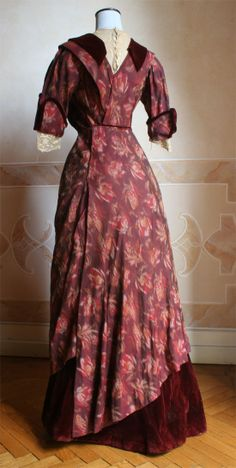 Dress made using the whole fabric of the skirt of a dress made of the 80 century. Original apparel remains intact, the bodice.