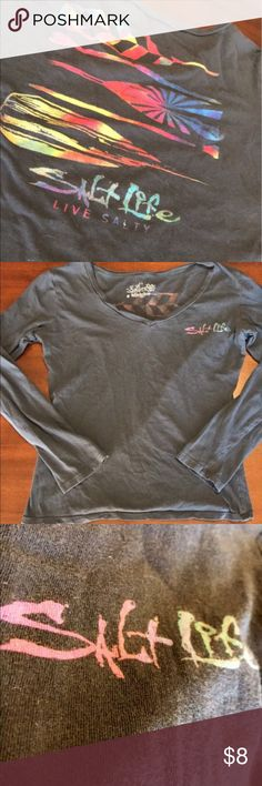 Long sleeve Salt Life shirt Super cute long sleeve Salt Life shirt. Grey with colorful logo on front and graphic on back. Size M but is a small medium Price may be negotiable. Salt Life Tops Tees - Long Sleeve