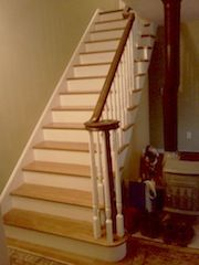 Best Red Oak Staircase With Black Painted Handrails Dark 400 x 300