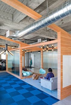 "I like the idea of framing out spaces to feel like a smaller semi-private room. ""collaboration"" area on second floor might be good spot for this. Studio O+A"
