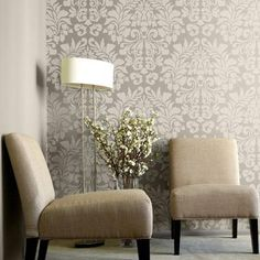 Large damask wallpaper stencils and wall stencils offer many elegant decorating…
