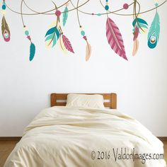 Feather ribbon wall decal dorm room wall decor by ValdonImages Dorm Room Walls, Wall Decals For Bedroom, Bedroom Decor, Nursery Decor, Bohemian Design, Bohemian Decor, Bohemian Living, Bohemian Style, Ikea Pax Doors
