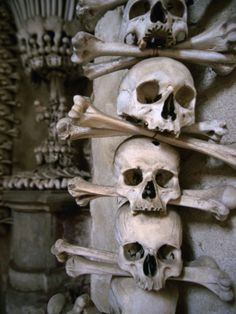 Bones of Monks and Plague Victims in Chapel Cellar of Ossuary in Sedlec Cloister, Czech Republic