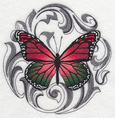 Christmas Butterfly with Baroque Background design (K2501) from www.Emblibrary.com