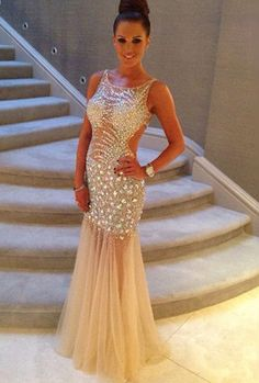 Sparkle Crystal Beaded Prom Dresses with Cutouts, Hot Prom Dress with Illusion Beads,Sexy prom dress