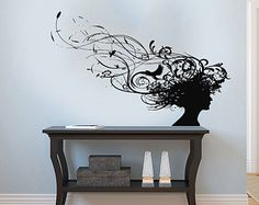 Girl Woman Silhouette Head Patterns Bird Housewares Wall Vinyl Decal Art Design Murals Interior Beauty Hair Spa Salon Decor Sticker SV3864