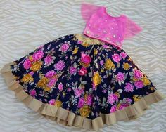 Blue and Pink Floral Lehenga - Indian Dresses