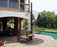 Outdoor+Spiral+Deck+Stairs | Pictures of elevated deck from Atlanta Decking and Fence Company.