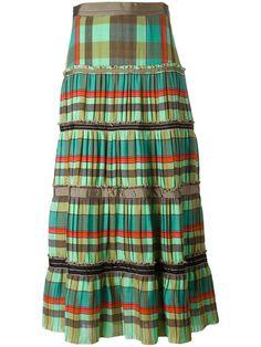 ETRO Striped Ruffled Midi Skirt. #etro #cloth #skirt