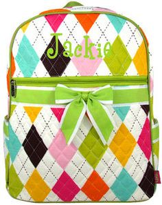 Personalized Diamond Backpack by pinkturtlecrossing on Etsy, $32.99