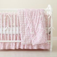 The Land of Nod | Baby Crib Bedding: Baby Crib Pink Floral & Lattice Print Bedding in Crib Bedding Collections