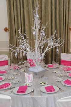 White Winter Wonderland Trees with Crystals