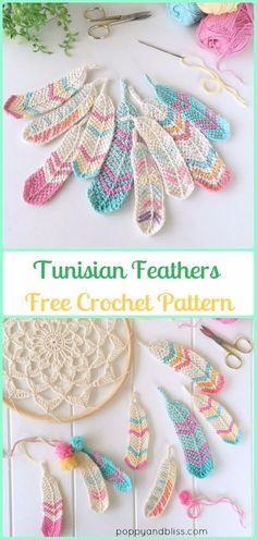 Crochet Tunisian Feathers Free Pattern by Poppyandbliss - Crochet Dream Catcher Free Patterns Crochet Diy, Crochet Motifs, Crochet Round, Crochet Crafts, Yarn Crafts, Crochet Feathers Free Pattern, Crochet Woman, Crochet Beard, Crochet Ideas