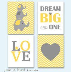 Elephant art print chevron printable, yellow nursery decor, elephant nursery wall art, nursery decoration, dream big little one