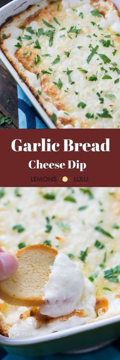 Garlic Bread Cheese Dip — sometimes the best part of the meal is the garlic bread served on the side! This ultra gooey cheese dip takes the best part of the bread and turns into a dippable and shareable appetizer! Best Appetizers, Appetizer Dips, Appetizer Recipes, Italian Appetizers, Dip Recipes, Seafood Recipes, Cooking Recipes, Bread Recipes, Chips Dip