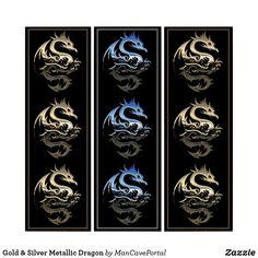 Gold & Silver Metallic Dragon Triptych Triptych, Single Image, Photographic Prints, Art Boards, Tribal Tattoos, Portal, Party Supplies, Metallic, Dragon