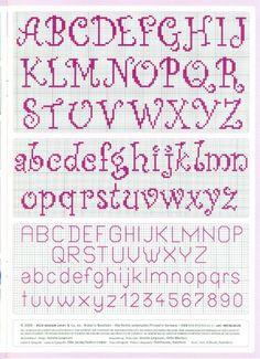 cross stitch alphabet nice curly easy to read -- looks easy to do by Renata Barillari Cross Stitch Letter Patterns, Cross Stitch Numbers, Cross Stitch Letters, Cross Stitch Cards, Cross Stitch Designs, Cross Stitching, Cross Stitch Font, Cross Stitch Needles, Beaded Cross Stitch